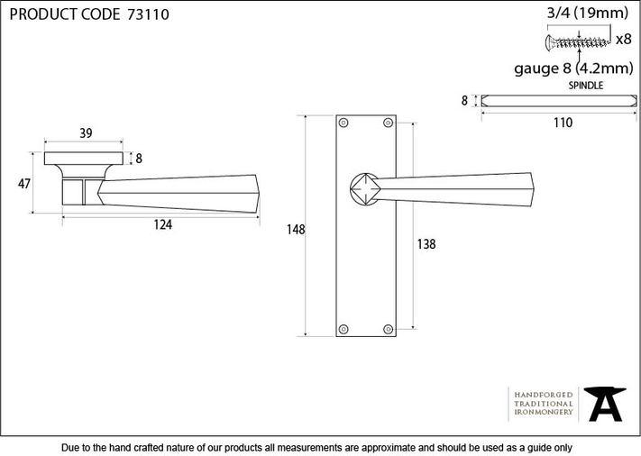 Black Straight Lever Latch Set Image 2