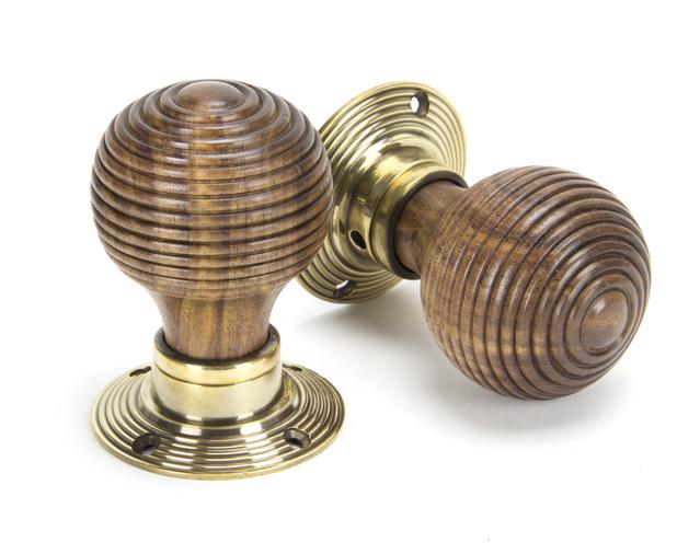 Rosewood & Aged Brass Beehive Mortice/Rim Knob Set Image 1