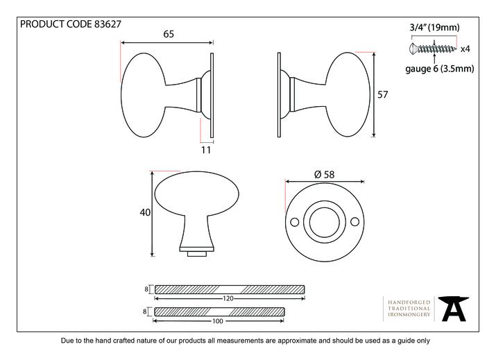 Polished Brass Oval Mortice/Rim Knob Set Image 2