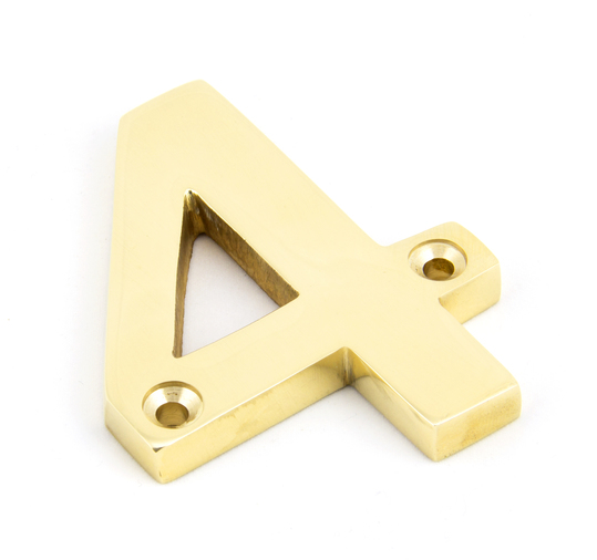 Polished Brass Numeral 4 Image 1
