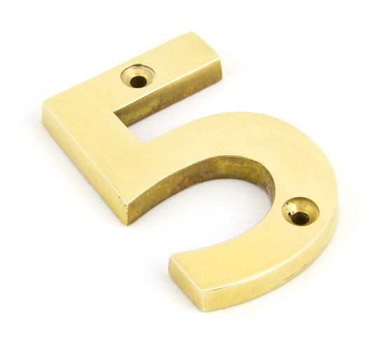 Polished Brass Numeral 5 Image 1