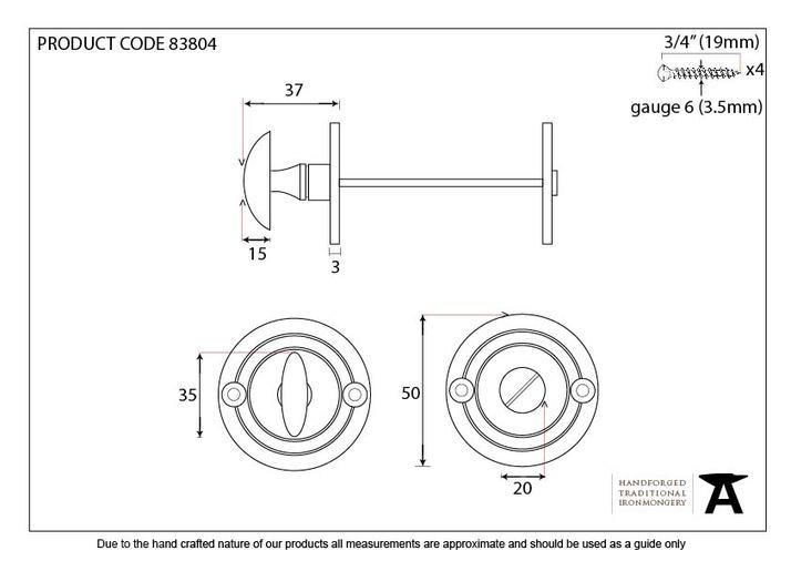 Aged Brass Round Bathroom Thumbturn Image 2
