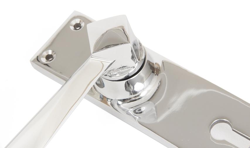 Polished Chrome Straight Lever Lock Set Image 2