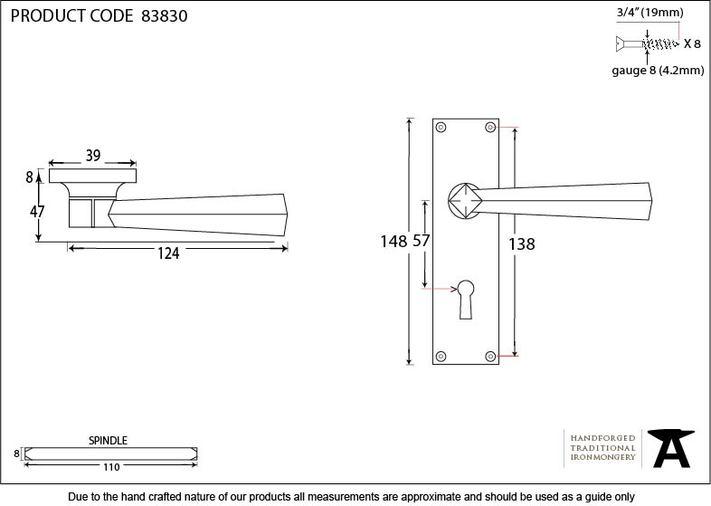 Polished Chrome Straight Lever Lock Set Image 3