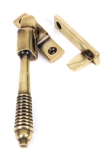 Aged Brass Night-Vent Locking Reeded Fastener Image 1