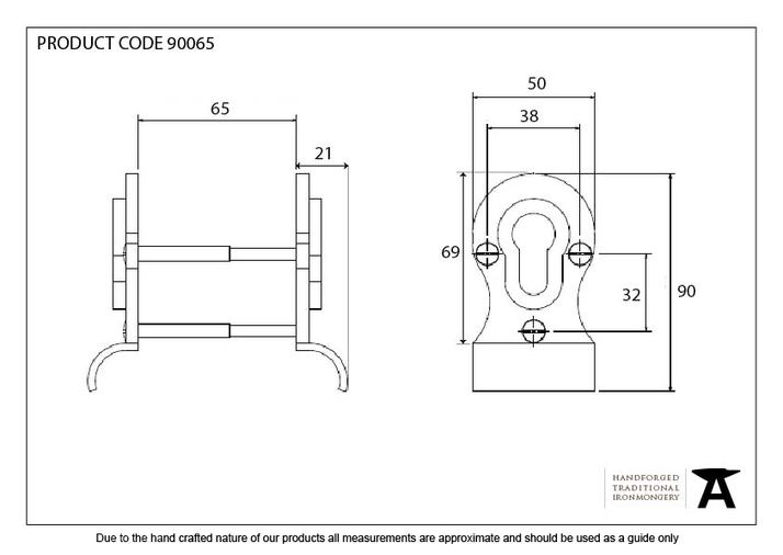 Aged Brass 50mm Euro Door Pull (Back to Back fixings) Image 4