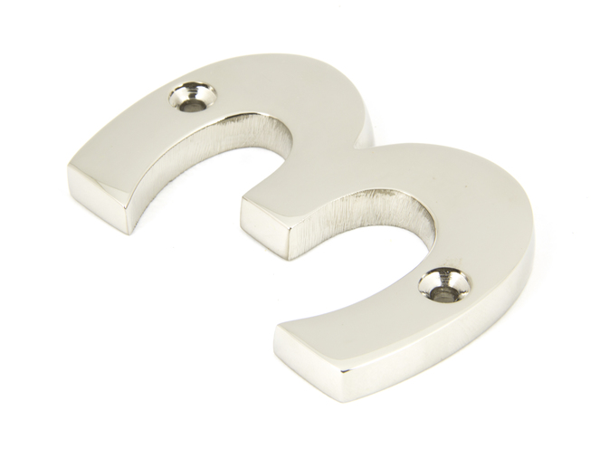 Polished Nickel Numeral 3 Image 1