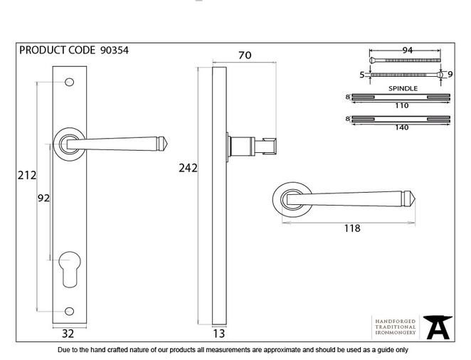Aged Brass Avon Slimline Lever Espag. Lock Set Image 6