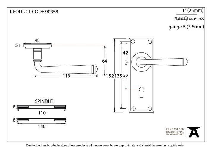 Aged Brass Avon Lever Lock Set Image 5