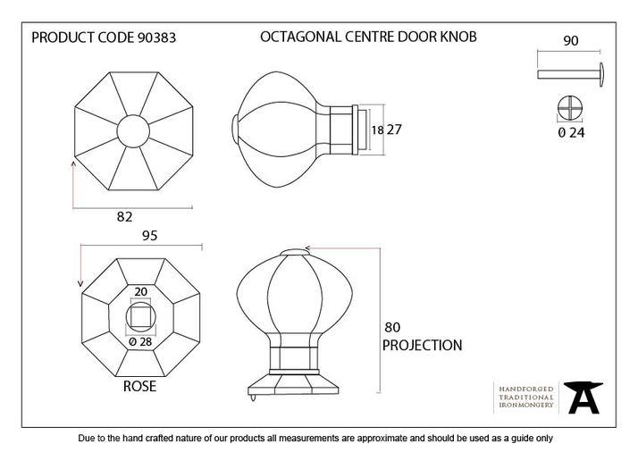 Pewter Octagonal Centre Door Knob - Internal Image 3