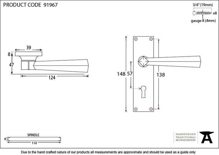 Satin Chrome Straight Lever Lock Set Image 3