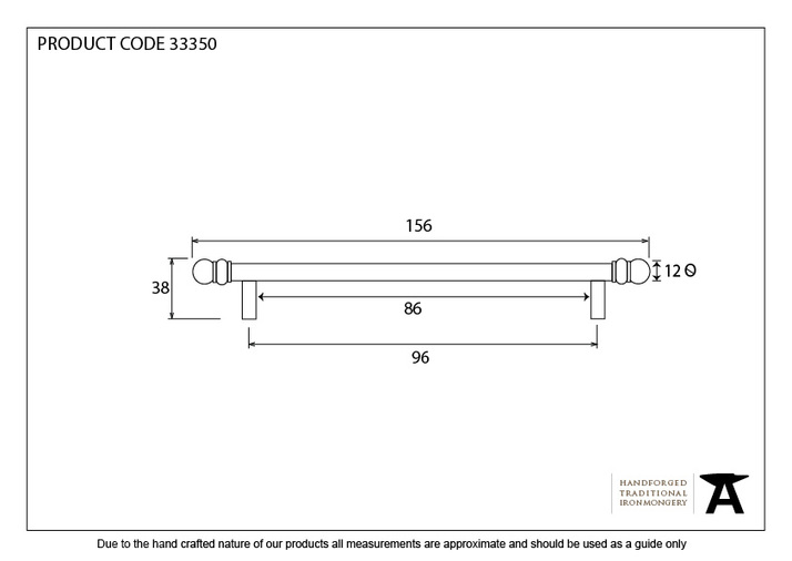 From The Anvil Natural Smooth 156mm Bar Pull Handle 33350 Image 4