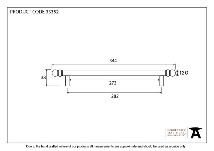 From The Anvil Natural Smooth 344mm Bar Pull Handle 33352 Image 4