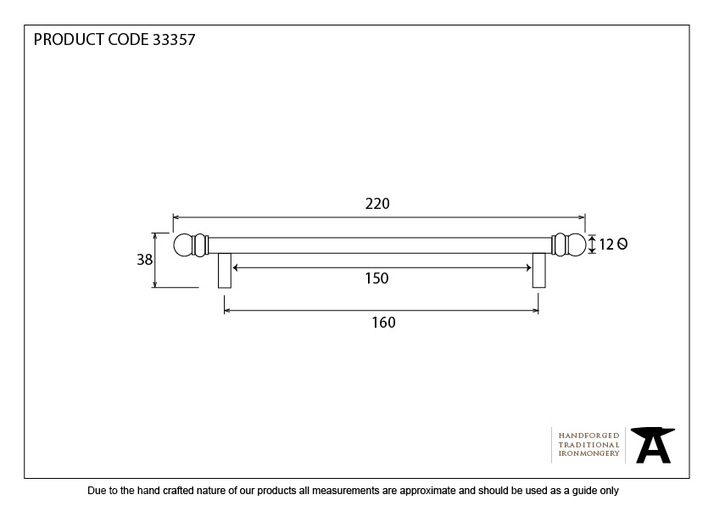 From The Anvil Black 220mm Bar Pull Handle 33357 Image 4