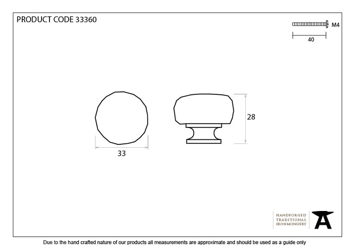 From The Anvil Natural Smooth Elan Cabinet Knob - Small 33360 Image 4