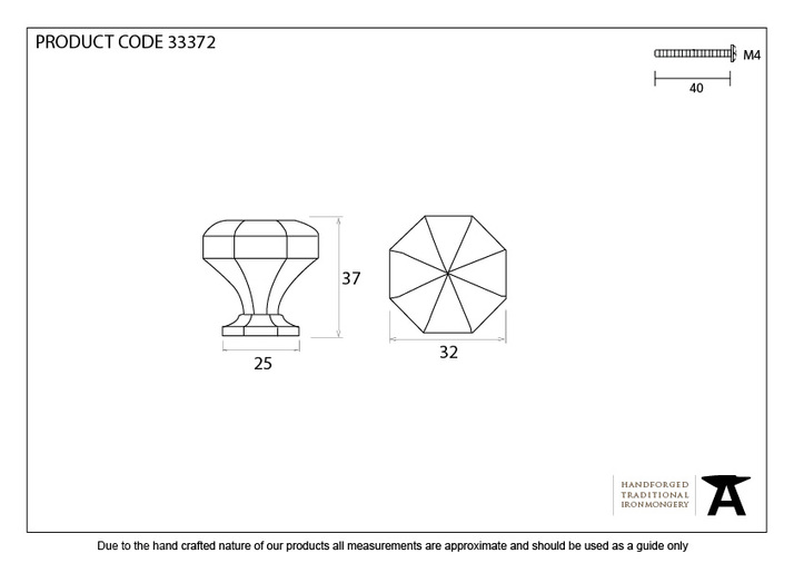 From The Anvil Black Octagonal Cabinet Knob - Small 33372 Image 4