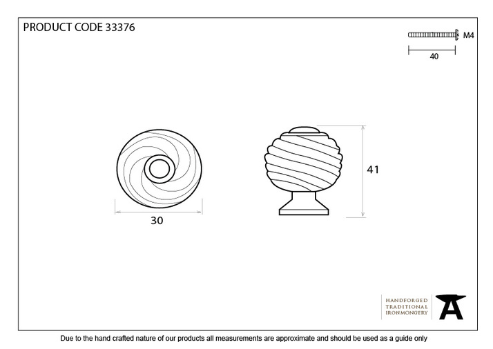 From The Anvil Black Twist Cabinet Knob 33376  Image 3