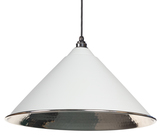 From The Anvil Light Grey Hammered Nickel Hockley Pendant 45433LG Image 1 Thumbnail