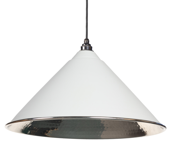 From The Anvil Light Grey Hammered Nickel Hockley Pendant 45433LG Image 1