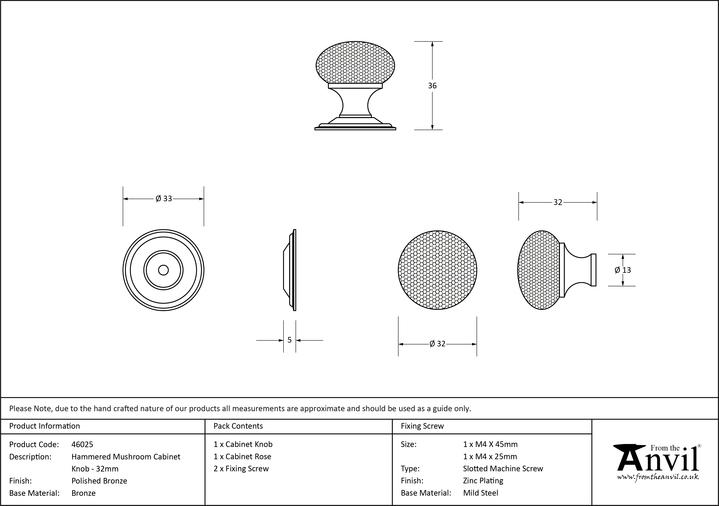 From The Anvil Polished Bronze Hammered Mushroom Cabinet Knob 32mm 46025 Image 3