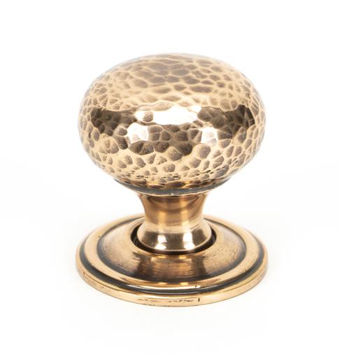 From The Anvil Polished Bronze Hammered Mushroom Cabinet Knob 32mm 46025 Image 1