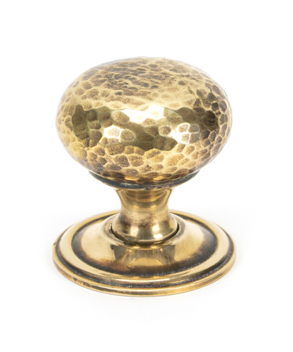 Aged Brass Hammered Mushroom Cabinet Knob 38mm Image 1