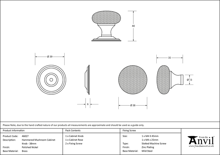 From The Anvil Polished Nickel Hammered Mushroom Cabinet Knob 38mm 46027 Image 3