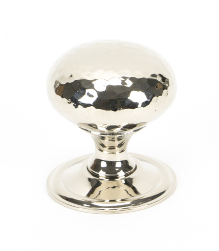 From The Anvil Polished Nickel Hammered Mushroom Cabinet Knob 38mm 46027 Image 1