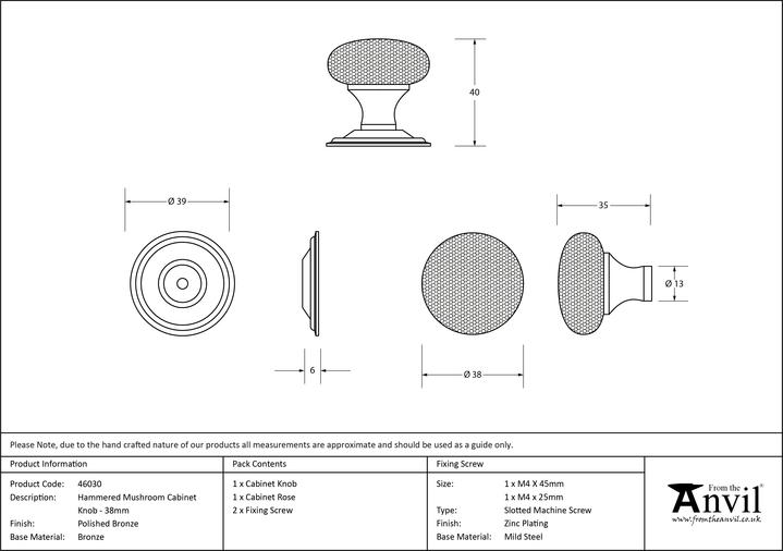 From The Anvil Polished Bronze Hammered Mushroom Cabinet Knob 38mm 46030 Image 3