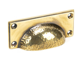 From The Anvil Aged Brass Hammered Art Deco Drawer Pull 46036 Image 1 Thumbnail