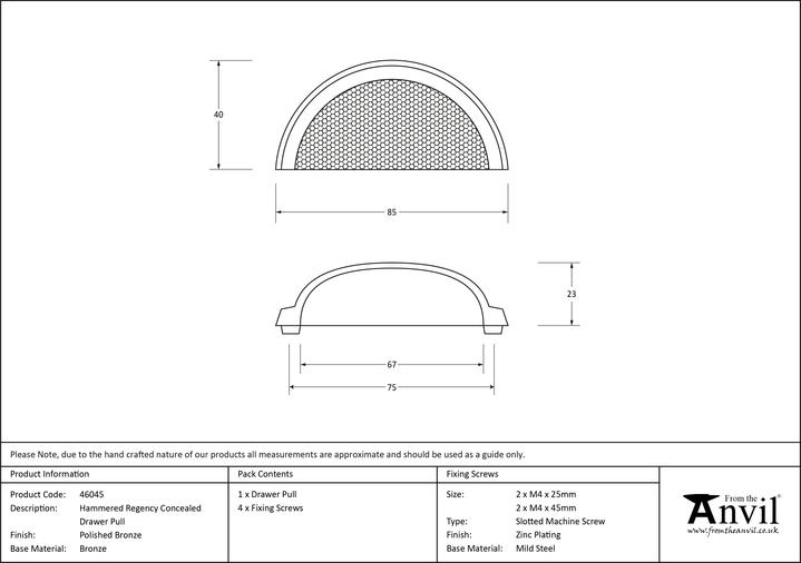 From The Anvil Polished Bronze Hammered Regency Concealed Drawer Pull 46045 Image 2