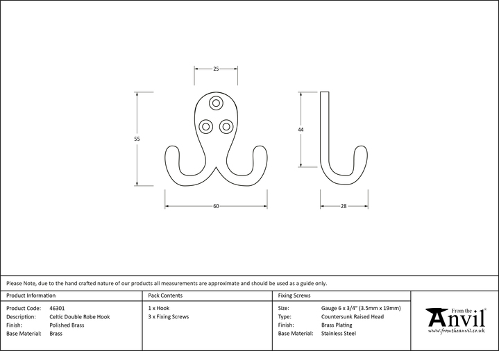 From The Anvil Polished Brass Celtic Double Robe Hook 46301 Image 2