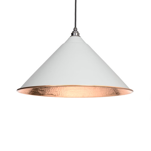 From The Anvil Light Grey Hammered Copper Hockley Pendant 49503LG Image 1
