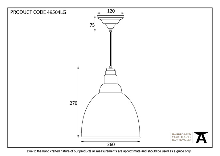 From The Anvil Light Grey Smooth Nickel Brindley Pendant 49504LG Image 2