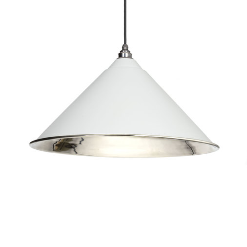 From The Anvil Light Grey Smooth Nickel Hockley Pendant 49506LG Image 1