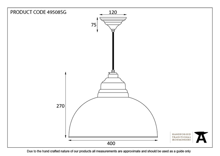 From The Anvil The Harborne Pendant in Sage Green 49508SG Image 3