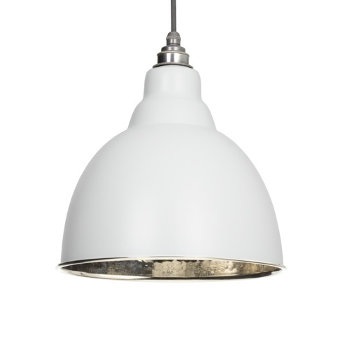 From The Anvil Light Grey Hammered Nickel Brindley Pendant 49511LG Image 1