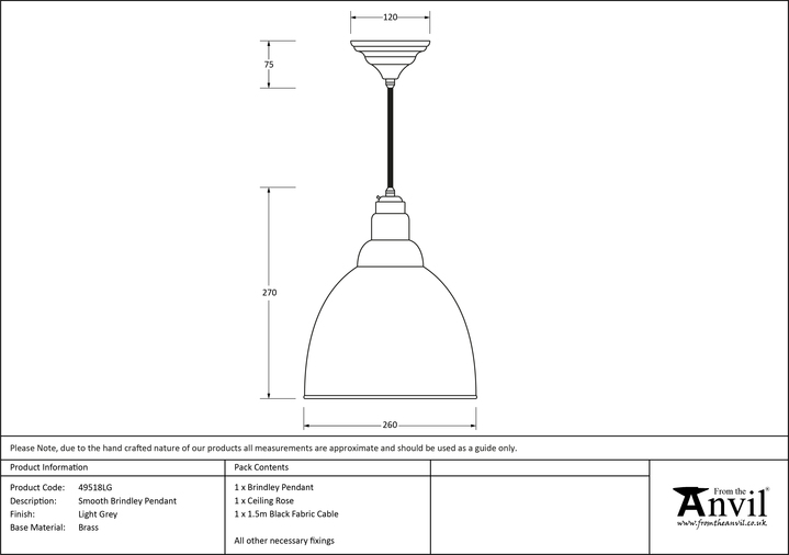 From The Anvil Light Grey Smooth Brass Brindley Pendant 49518LG Image 2