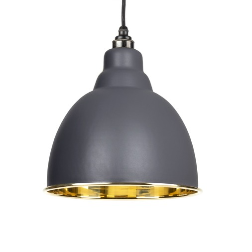 From The Anvil Dark Grey Smooth Brass Brindley Pendant 49518DG Image 1