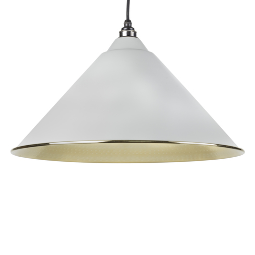 From The Anvil Light Grey Hammered Brass Hockley Pendant 49523LG Image 1