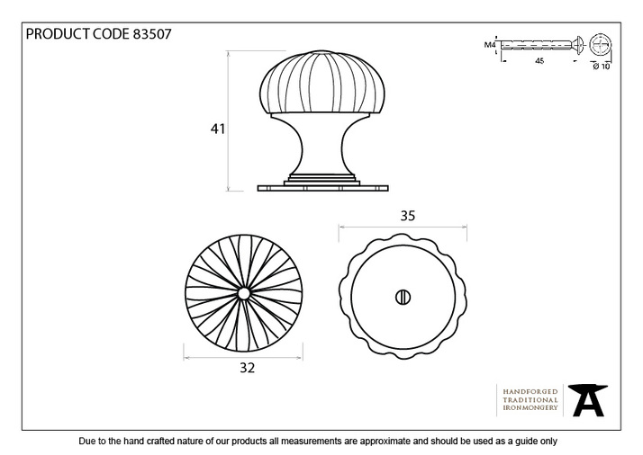 From The Anvil Black Flower Cabinet Knob - Small 83507 Image 3