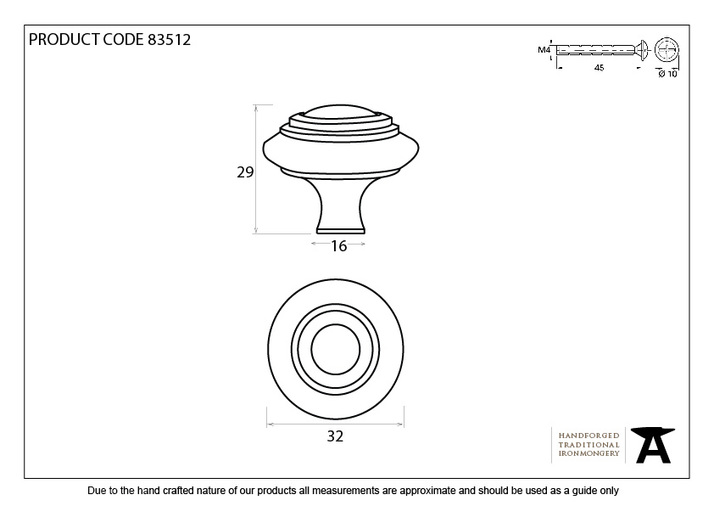 From The Anvil Natural Smooth Ringed Cabinet Knob - Small 83512 Image 2