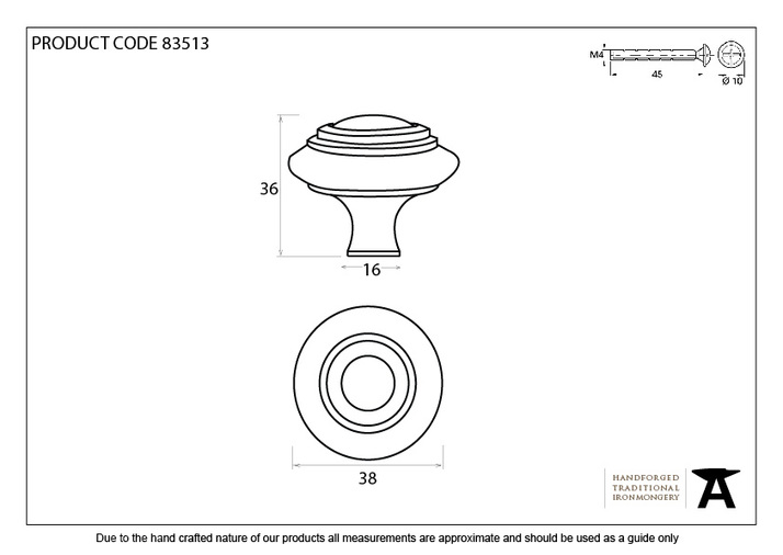 From The Anvil Black Ringed Cabinet Knob - Large 83513 Image 2