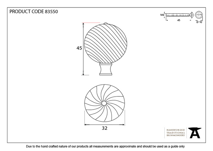 From The Anvil Polished Brass Spiral Cabinet Knob - Small 83550 Image 4