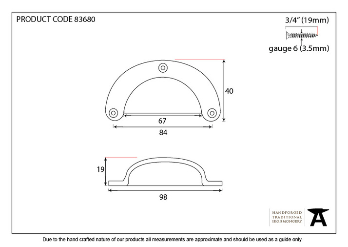 From The Anvil Black 4'' Plain Drawer Pull 83680 Image 2
