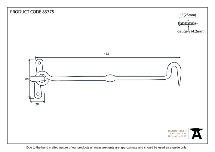 From The Anvil Black 16 Inch Forged Cabin Hook 83775 Image 2
