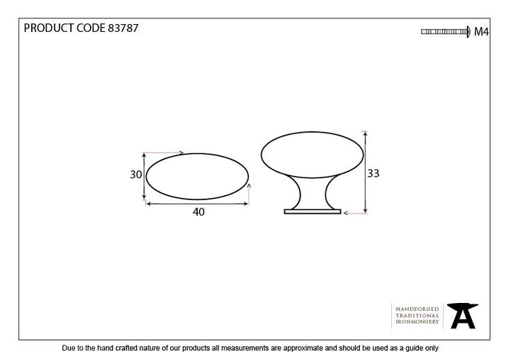 From The Anvil Pewter Oval Cabinet Knob 83787 Image 2