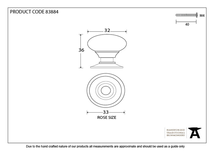 From The Anvil Polished Nickel Mushroom Cabinet Knob 32mm 83884 Image 3