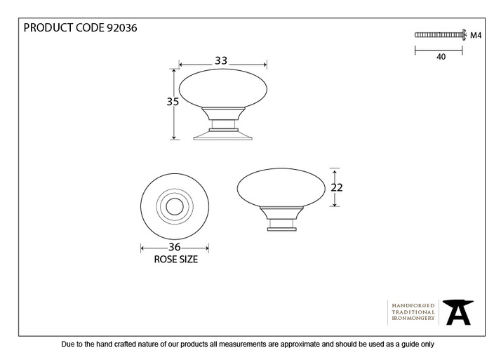 From The Anvil Aged Bronze Oval Cabinet Knob 33mm 92036 Image 3
