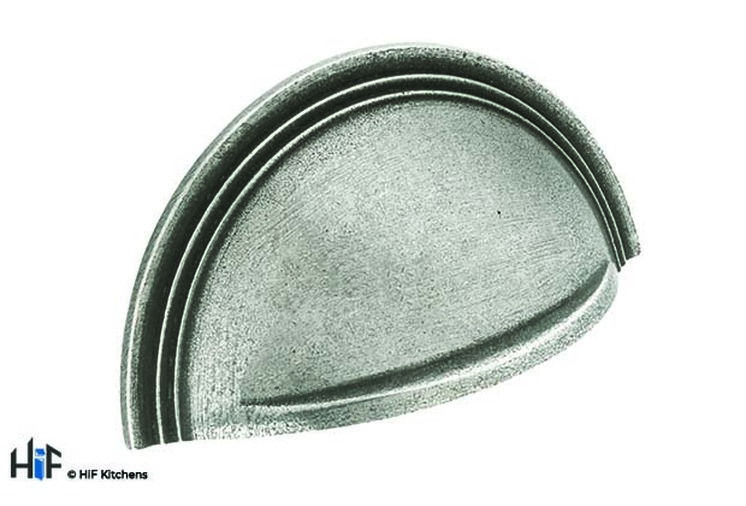 H1111.64.PE  Kitchen Cup Handle With Stepped Detail Solid Pewter Image 1